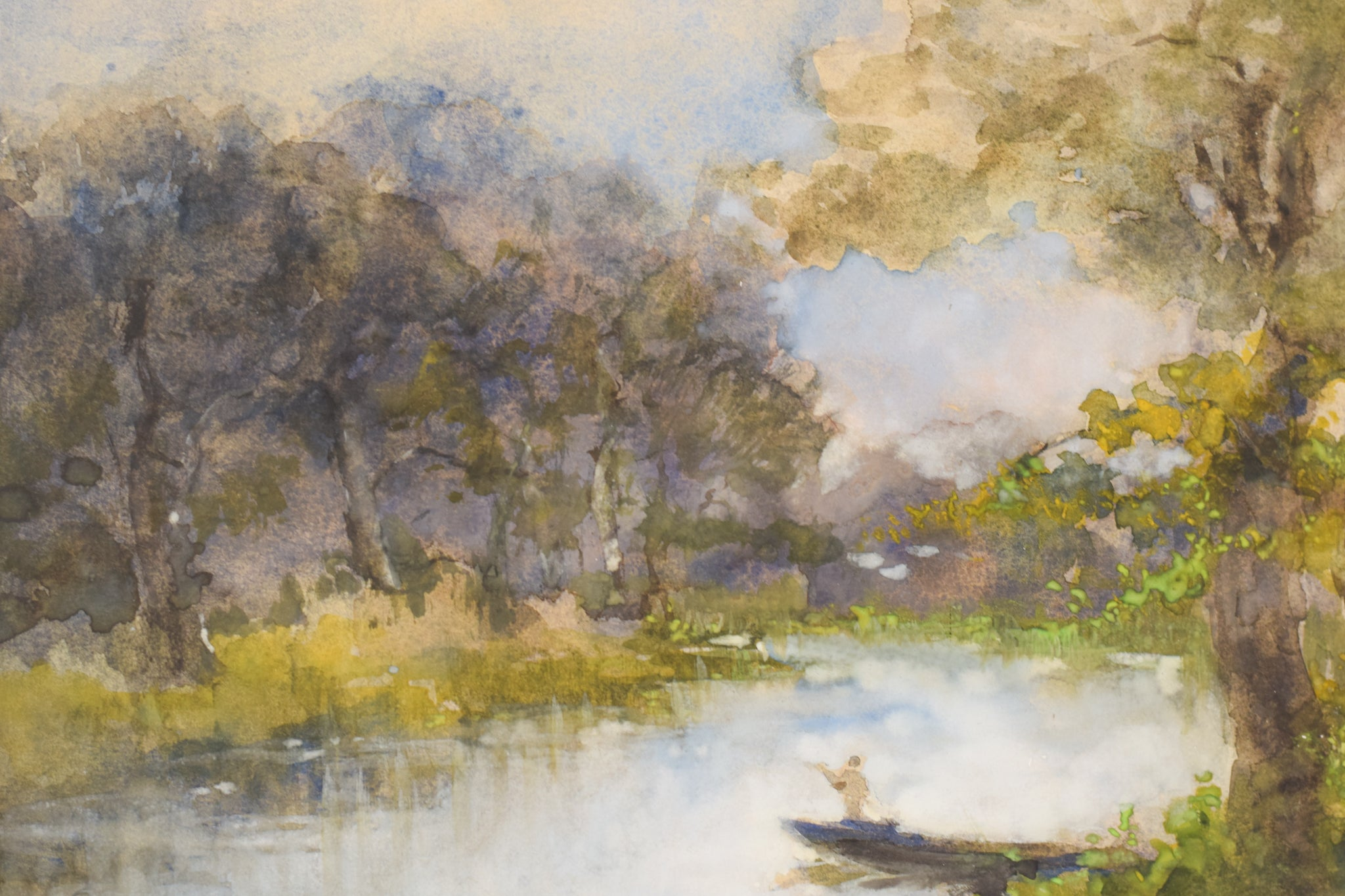 'The Boat on the River' Watercolour Landscape by Pompeo Mariani_Detail