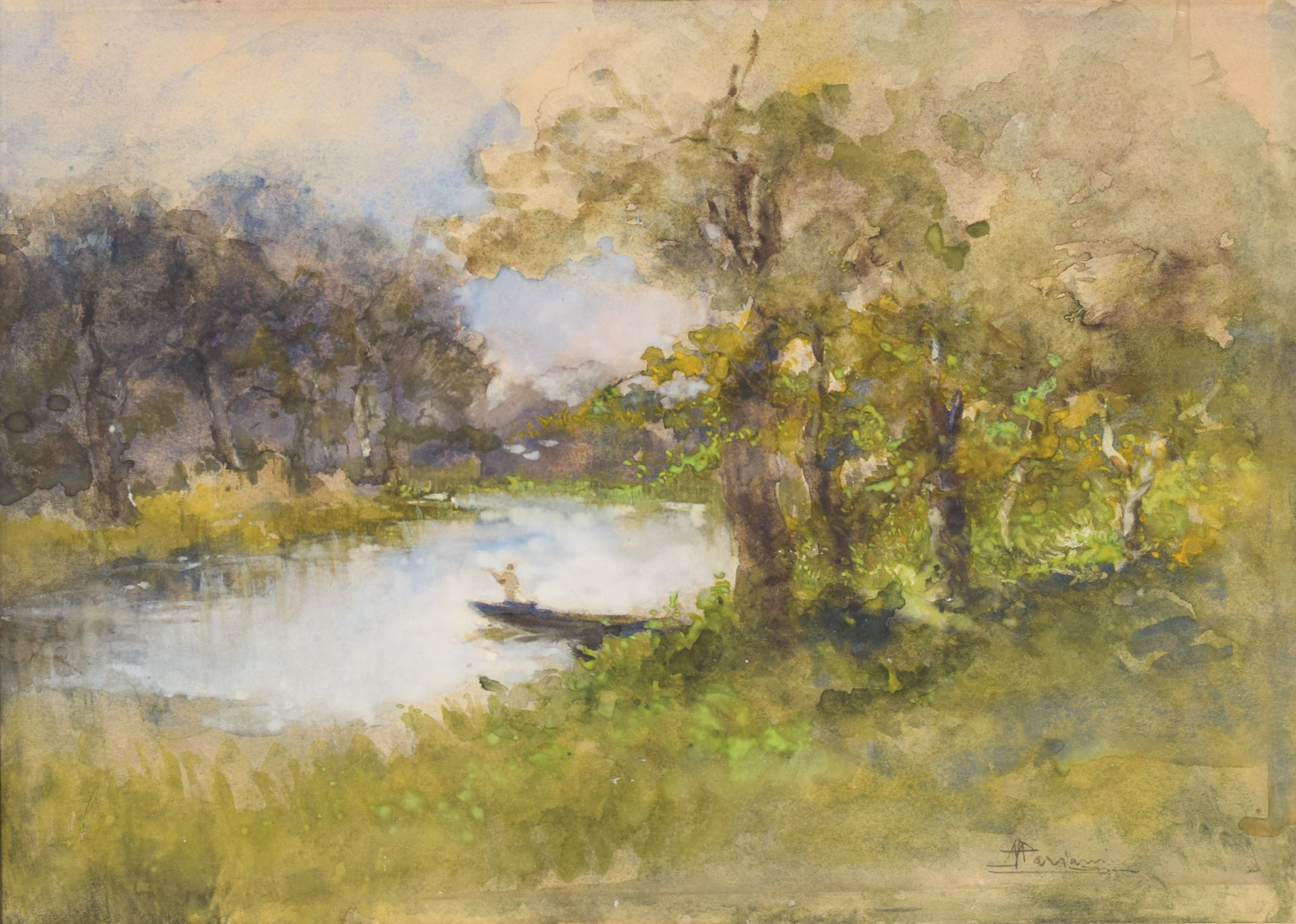 'The Boat on the River' Watercolour Landscape by Pompeo Mariani