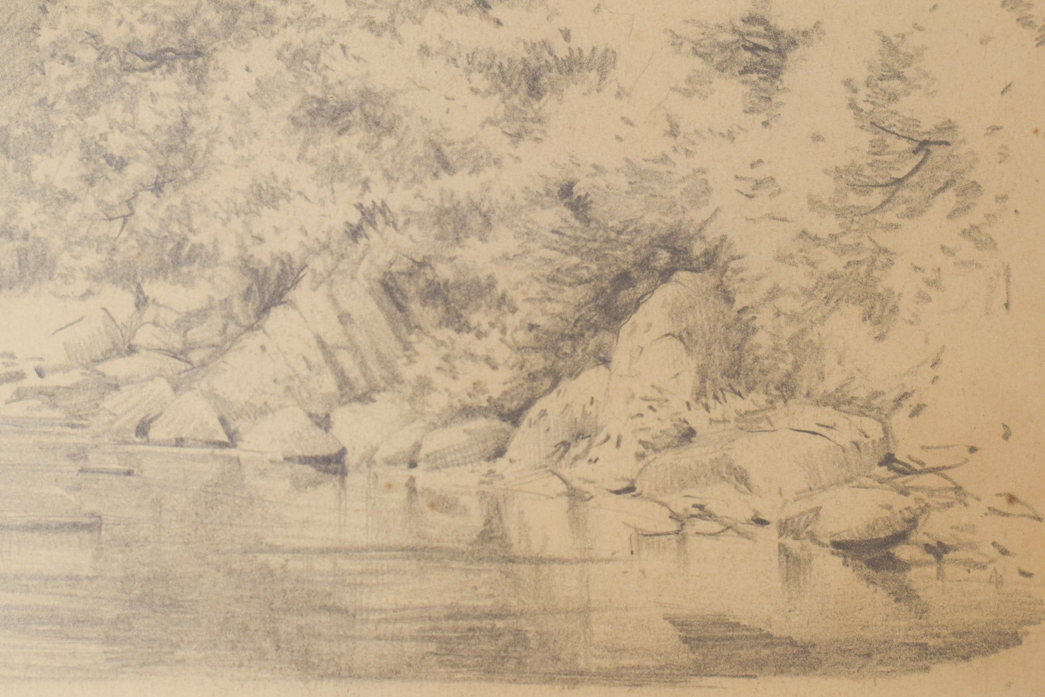 'On The Cree' Landscape Drawing of a River. American Artist