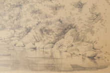 Load image into Gallery viewer, 'On The Cree' Landscape Drawing of a River. American Artist