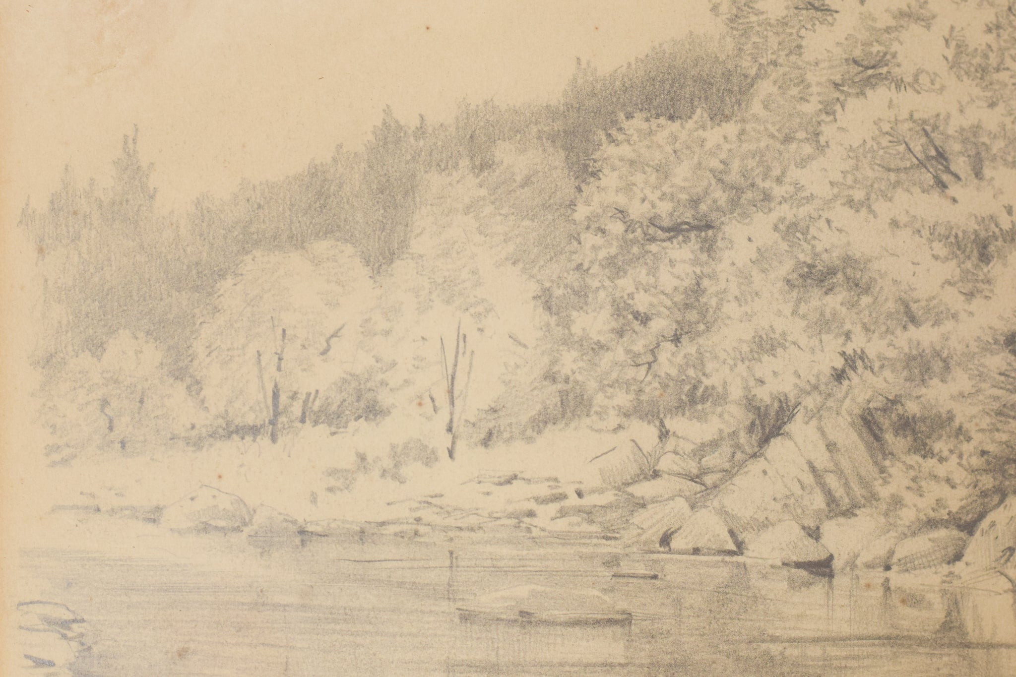 'On The Cree' Landscape Drawing of a River_Detail