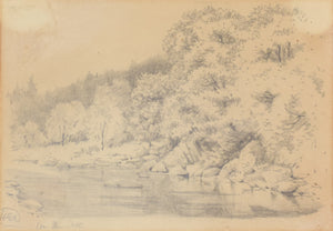 'On The Cree' Landscape Drawing of a River