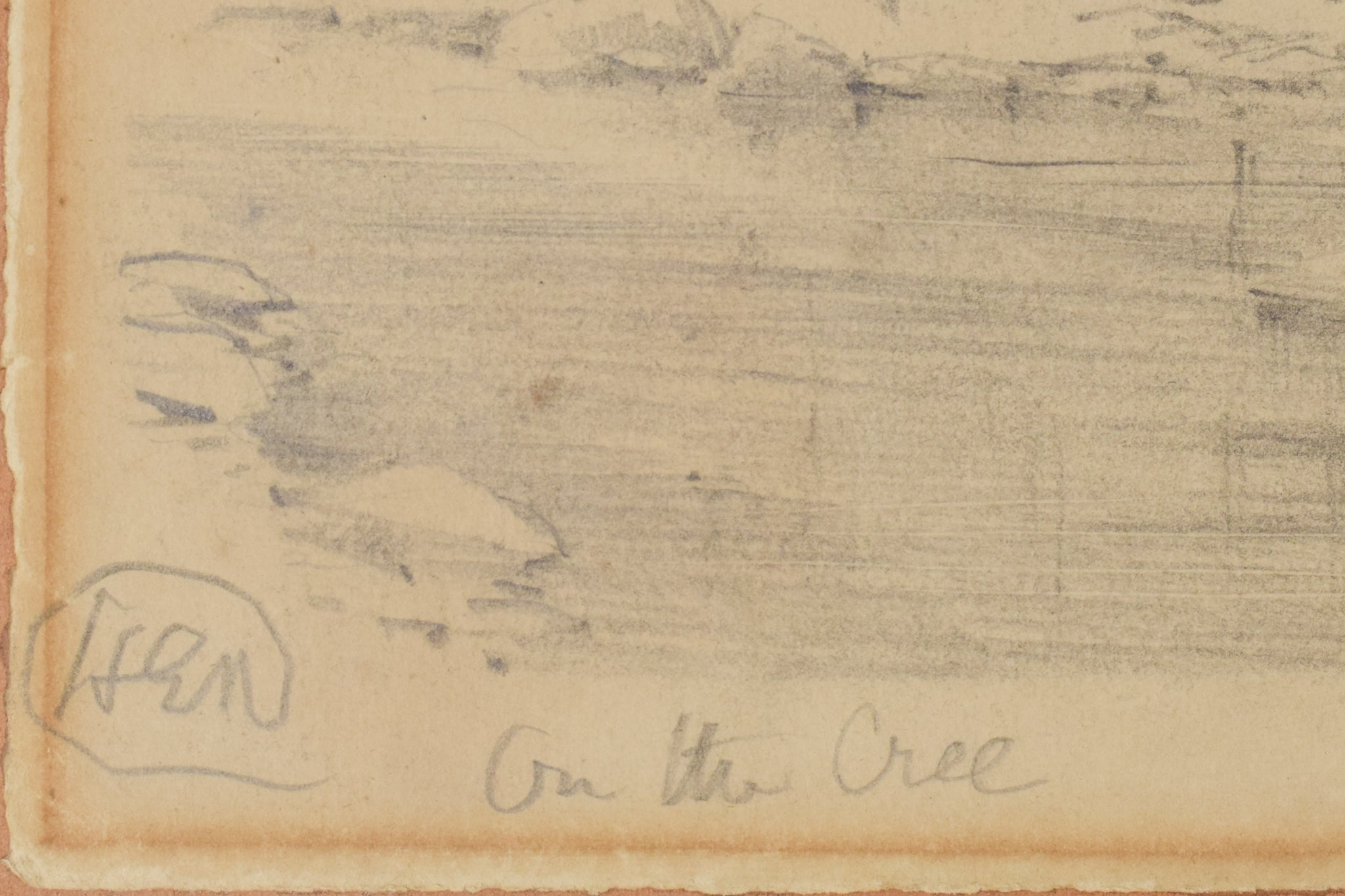 'On The Cree' Landscape Drawing of a River_Signature