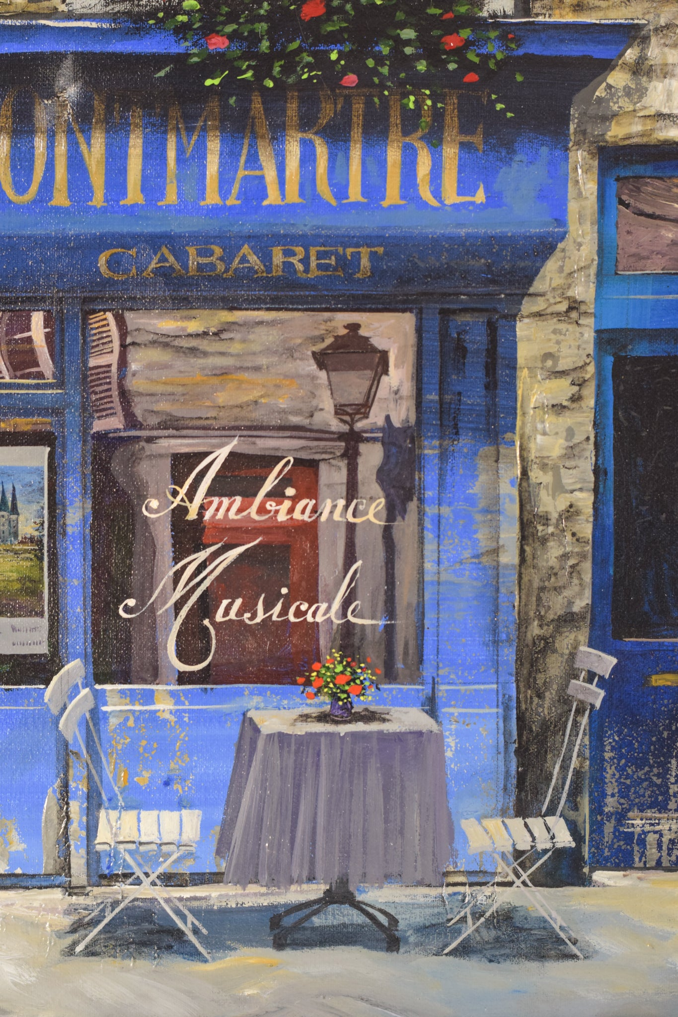Oil on canvas Paris Cafe 'Au Vieux Montmartre'