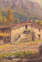 Load image into Gallery viewer, Mountain Landscape with barn and haystacks.