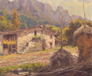 Mountain Landscape with barn and haystacks.