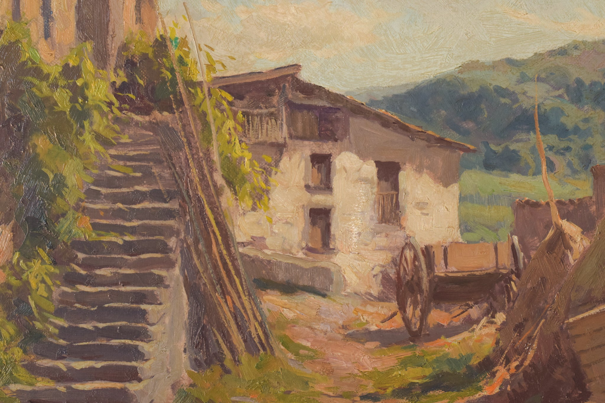 Farmyard scene with mountains and cart