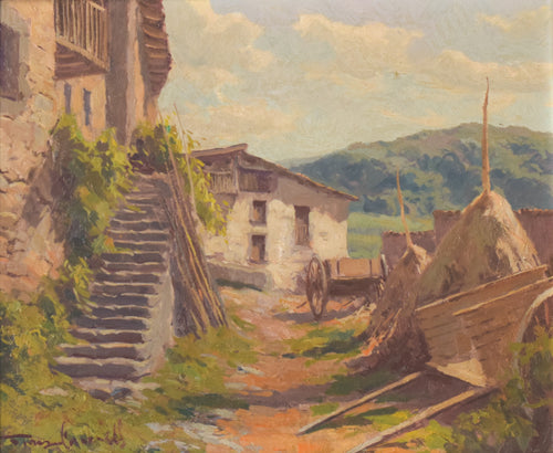 Farm yard scene with mountains and cart