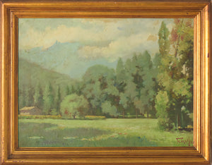 Oil Landscape with Trees