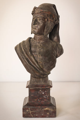 Bronzed busk with marble base of Dante by Giuseppe Moretti