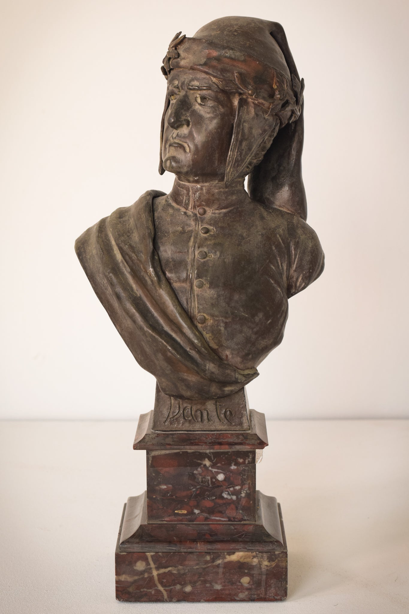 Bronzed bust with marble base of Dante by Giuseppe Moretti
