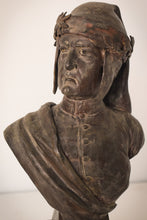 Load image into Gallery viewer, Bronzed bust with marble base of Dante by Giuseppe Moretti