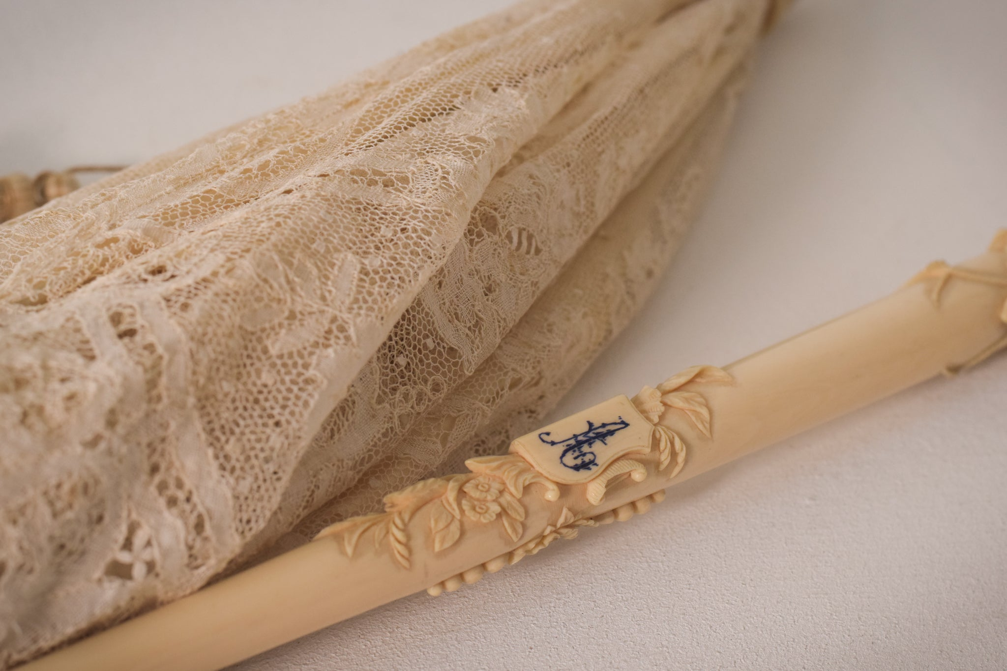 Beautifully carved ivory Folding handle Parasol With Exquisite Lacework Monogramed 'A'