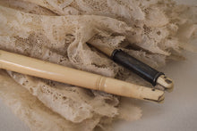 Load image into Gallery viewer, Beautifully carved ivory Folding handle Parasol With Exquisite Lacework Monogramed 'A'