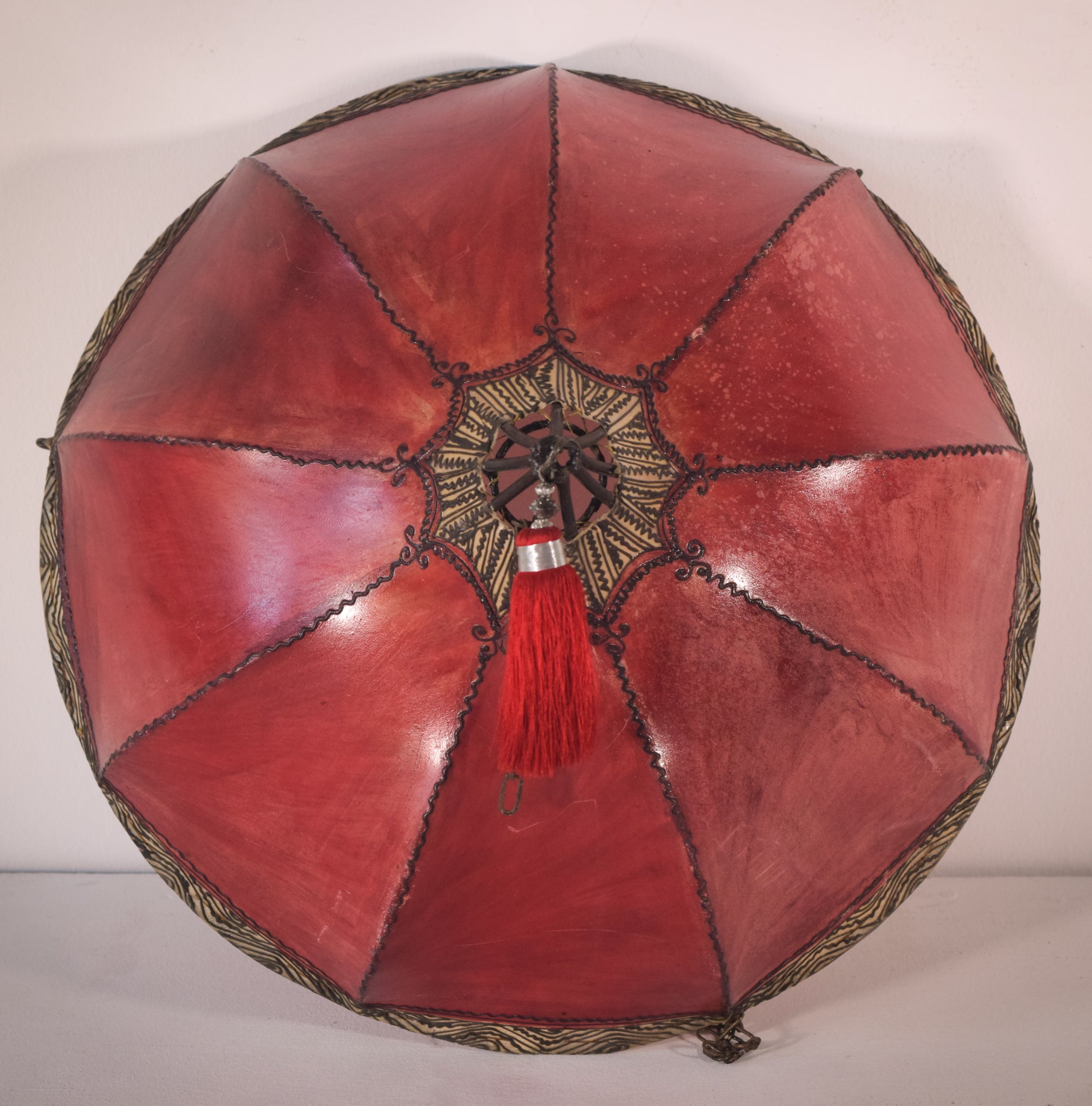 Red Hide Skin Stained Decorated Lamp Shade With Metal Frame
