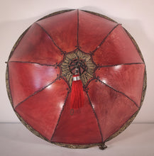 Load image into Gallery viewer, Red Hide Skin Stained Decorated Lamp Shade With Metal Frame
