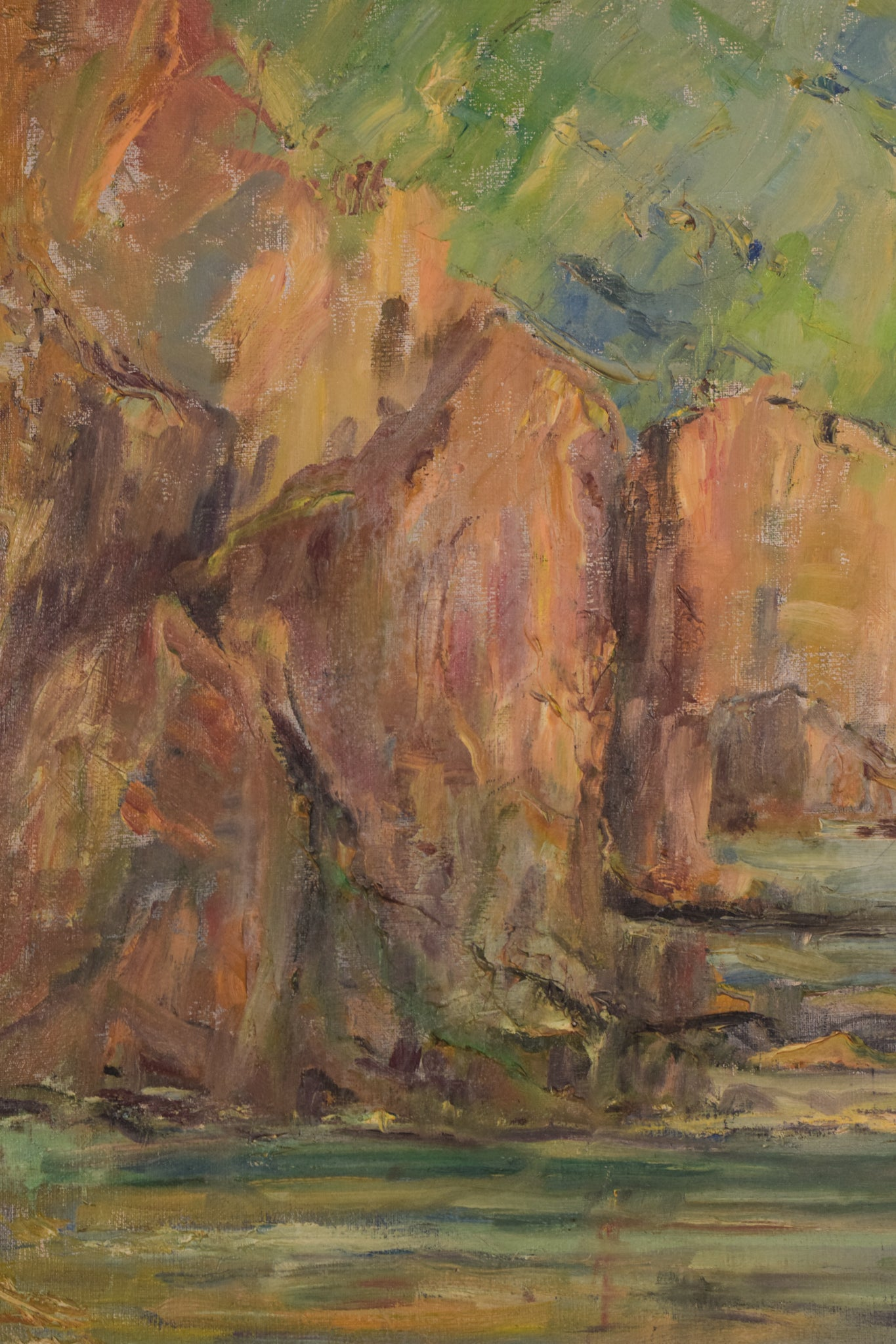 Impressionist seascape with cliffs. Oil on canvas.