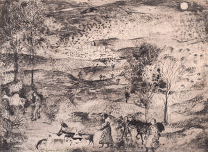 Pen and Ink Surrealist Drawing Landscape With Figures and Animals by Rosario de Velasco