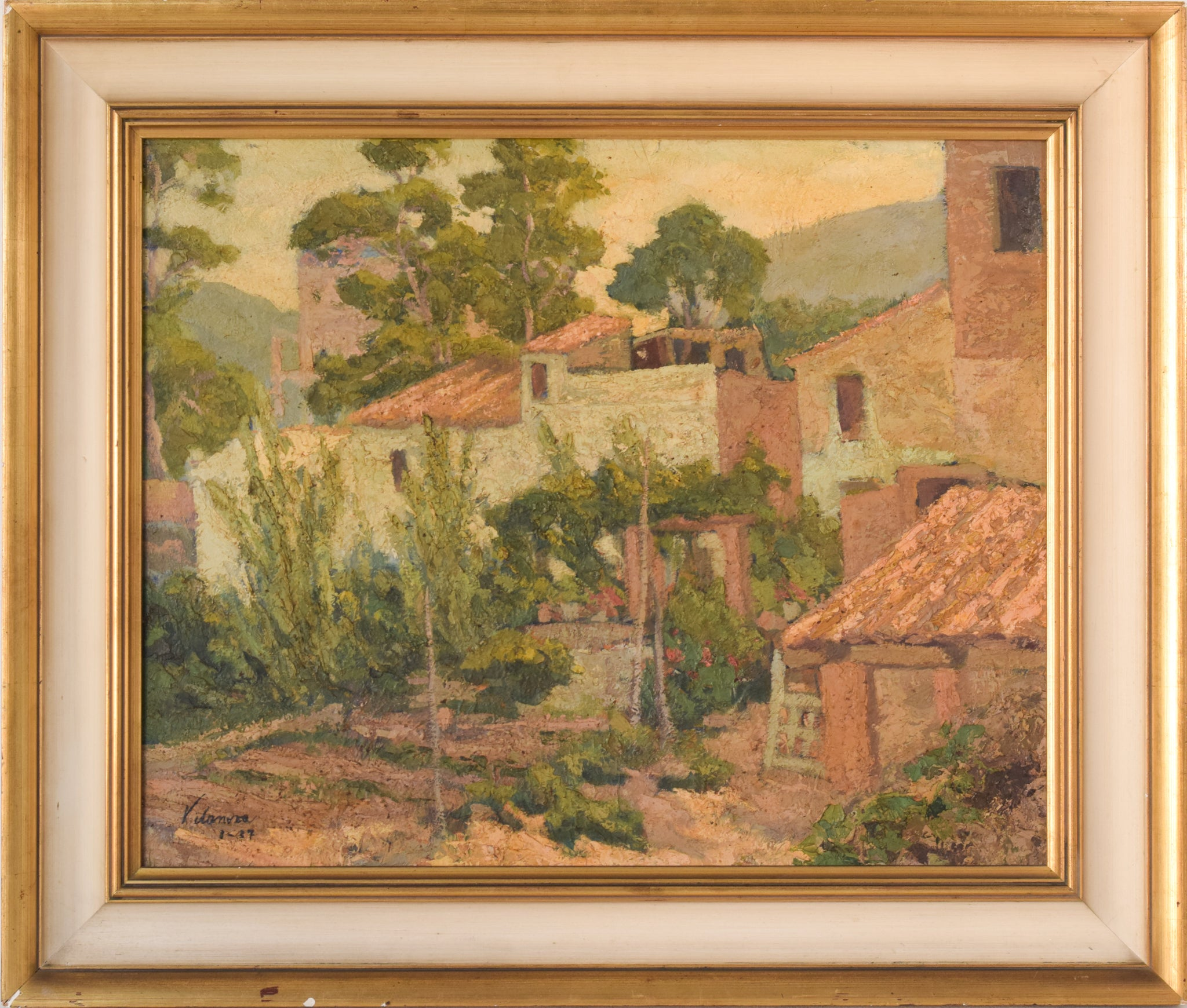 Signed & Dated 37 Framed Impressionist Oil Of Houses and Trees