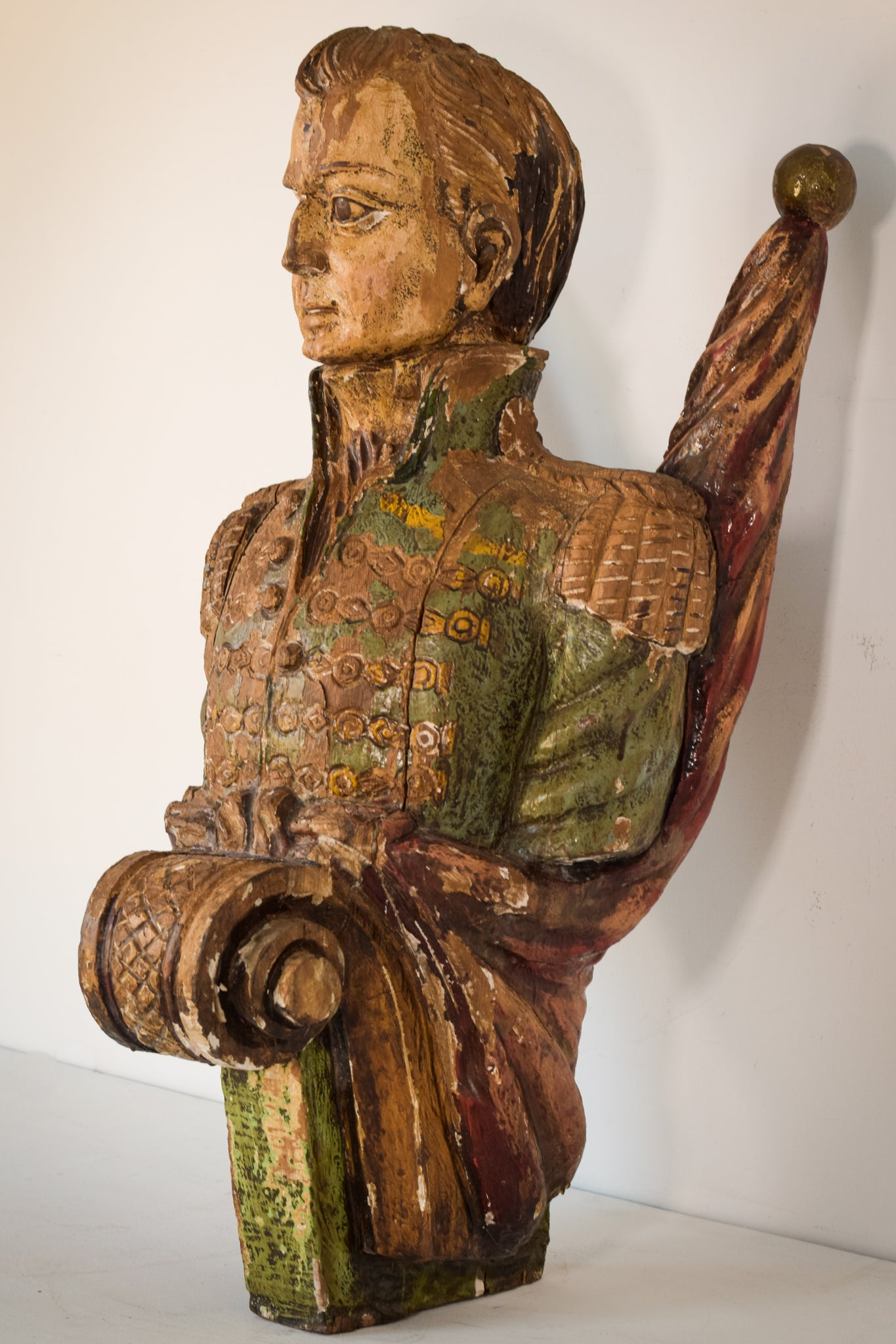 Large Polychromed Interesting Carved Wooden Figure in the form of a ships officer or admiral rank figure head