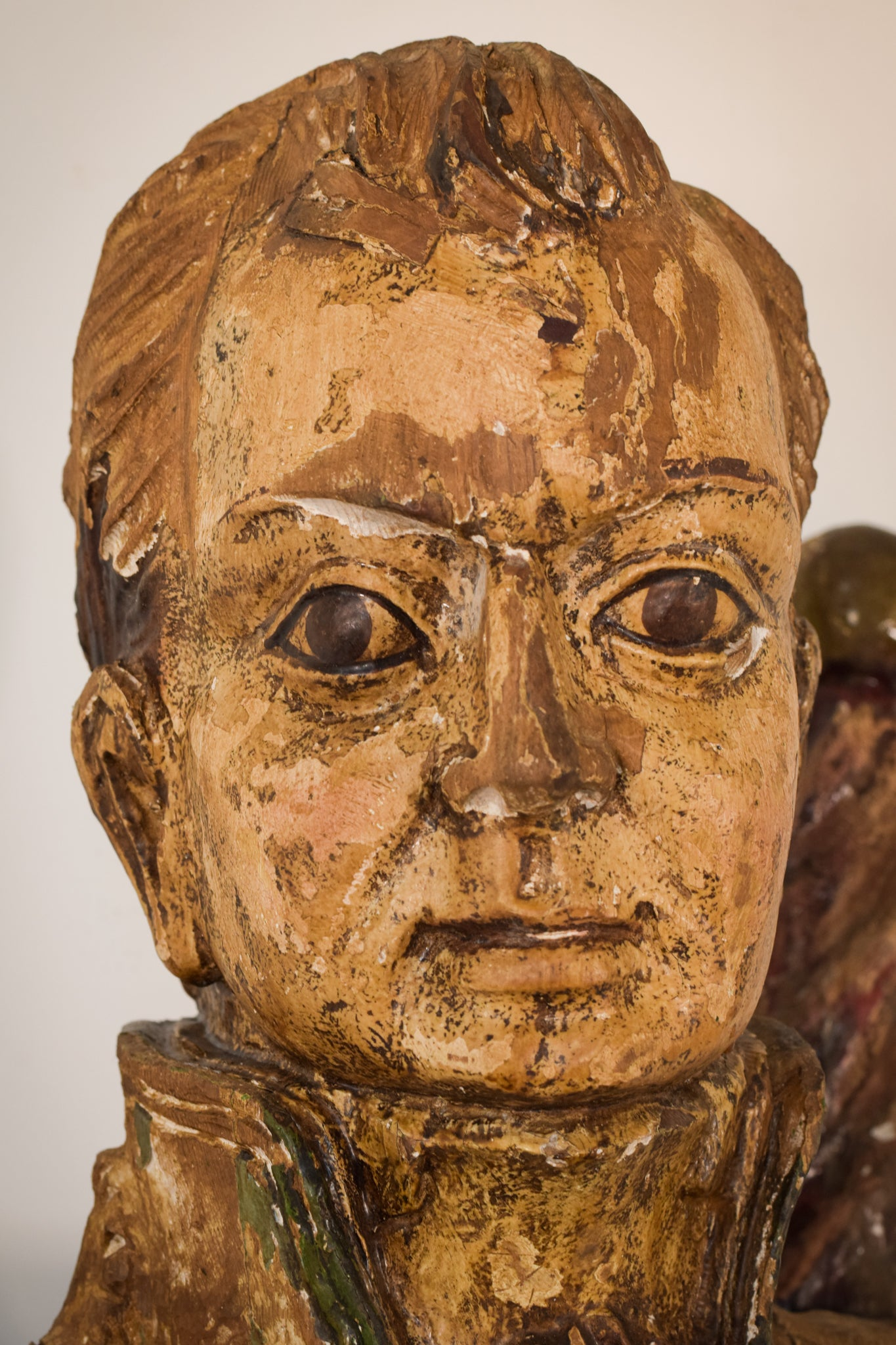 Large Polychromed Carved Wooden Figure in the form of a ships officer or admiral rank figurehead