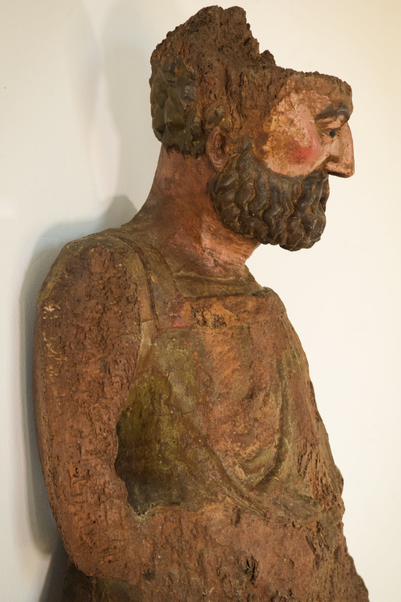 Massive Early Decorative Polychromed Carving of a Saint