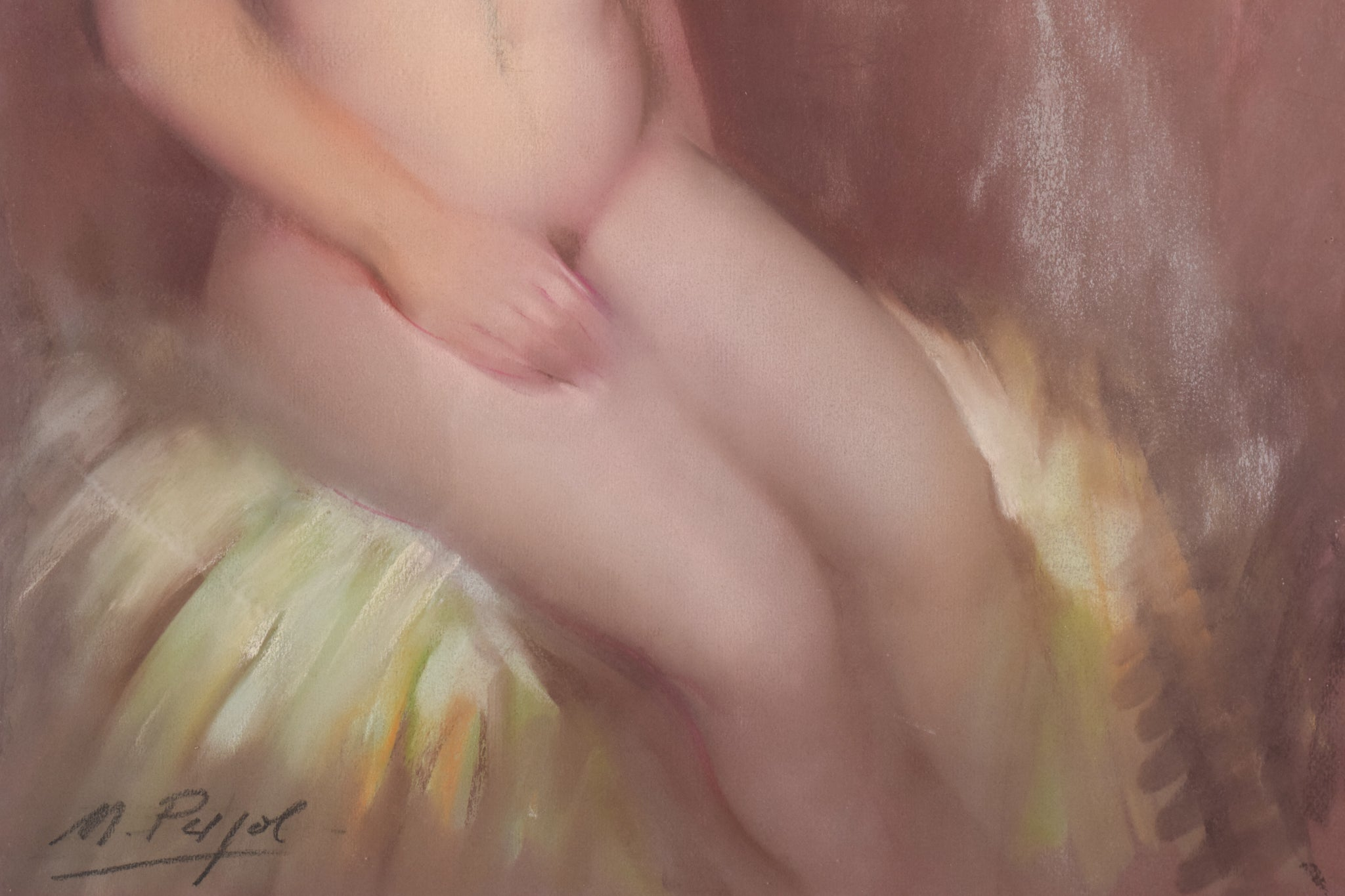 Framed and Glazed Signed Pastel of a nude.