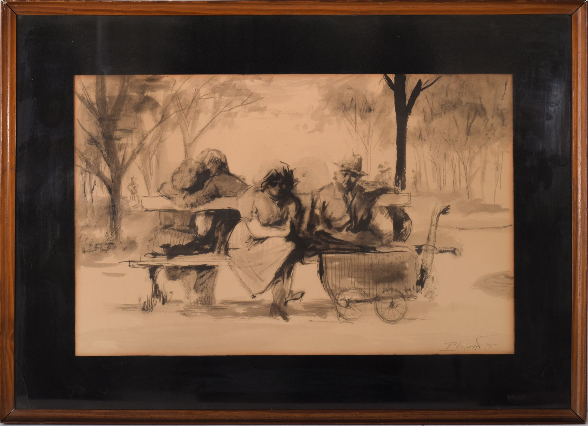 Watercolour Figures on Bench with Pram signed and dated P Leitao (Pedro Leitao 1922-2009)