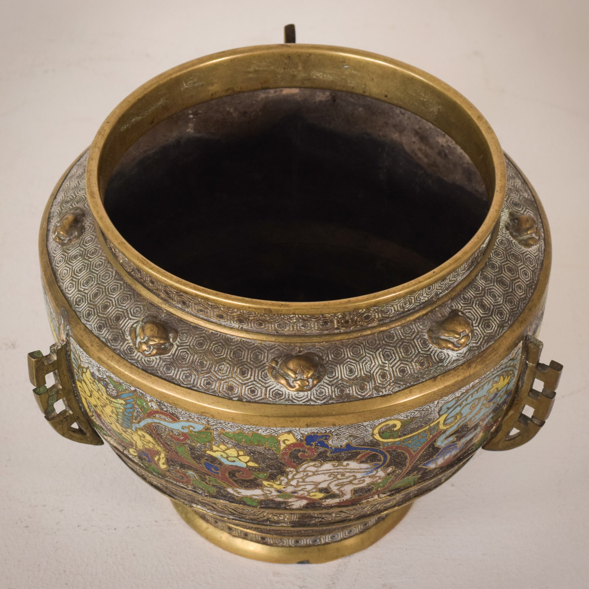 Signed Chinese Cloisonné Pot
