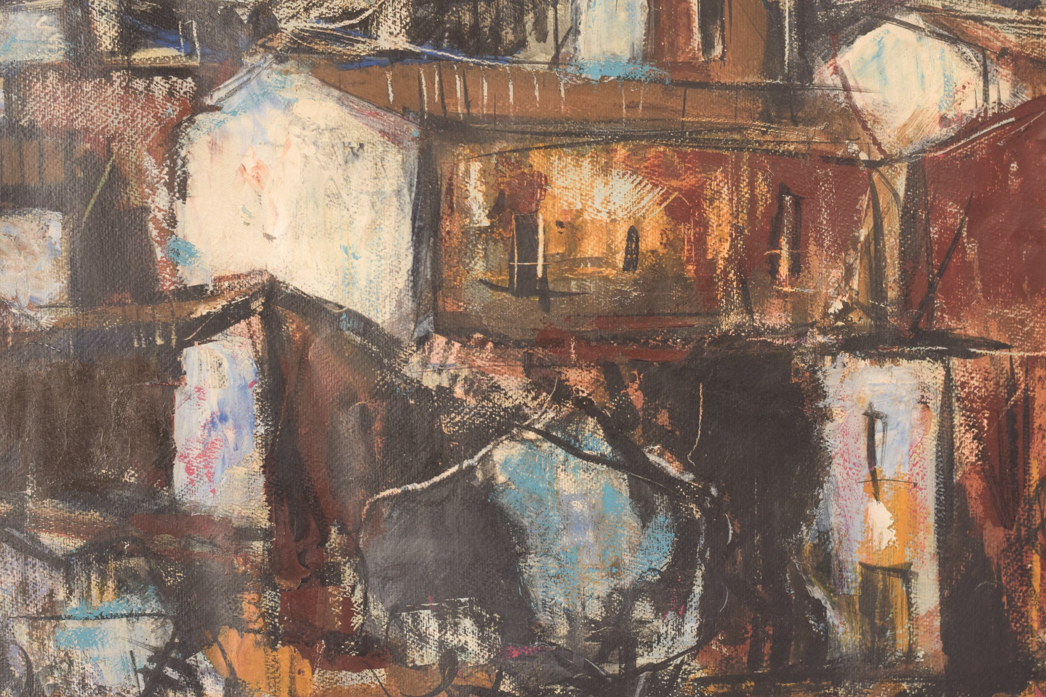 Modernist Painting of a Town in Mixed Media