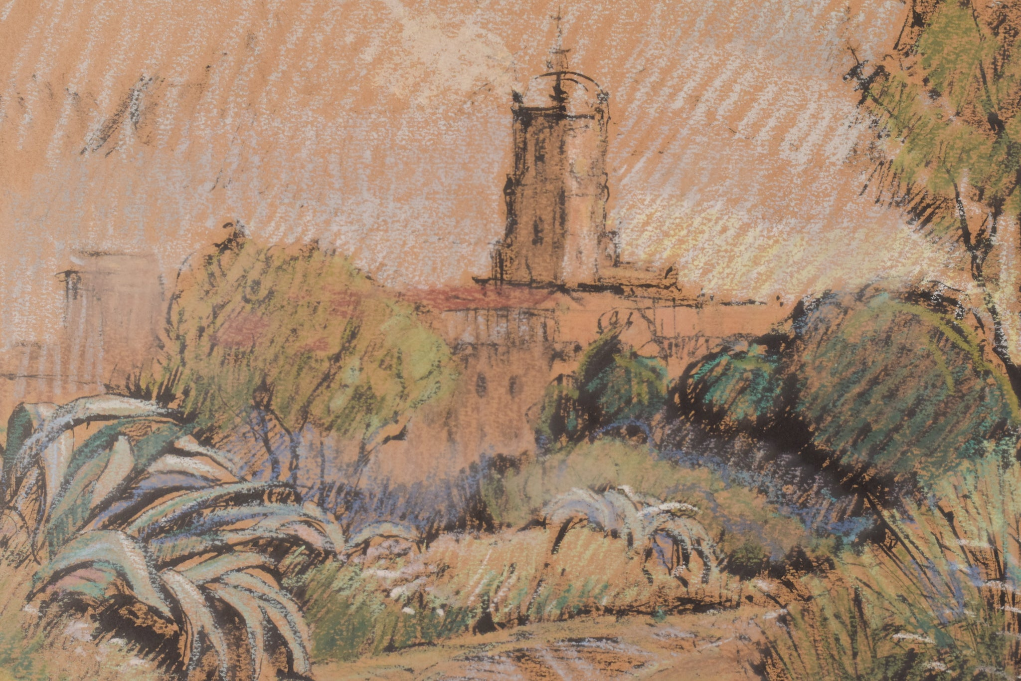 Framed Post Impressionist Sketch of a Church in a Landscape