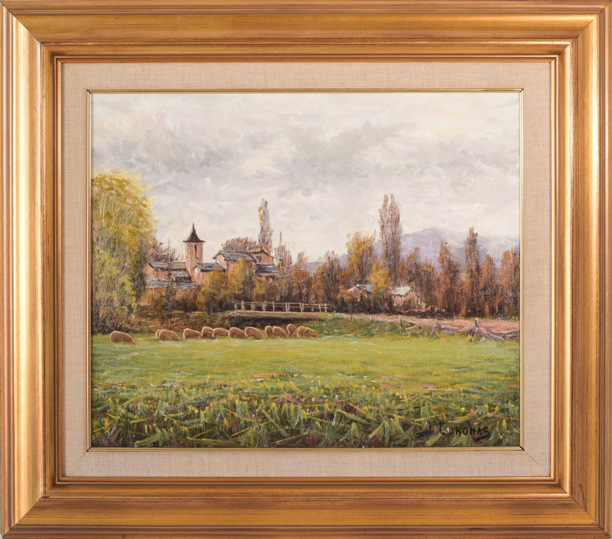 Framed Signed Oil on Canvas of a Landscape with River and Village