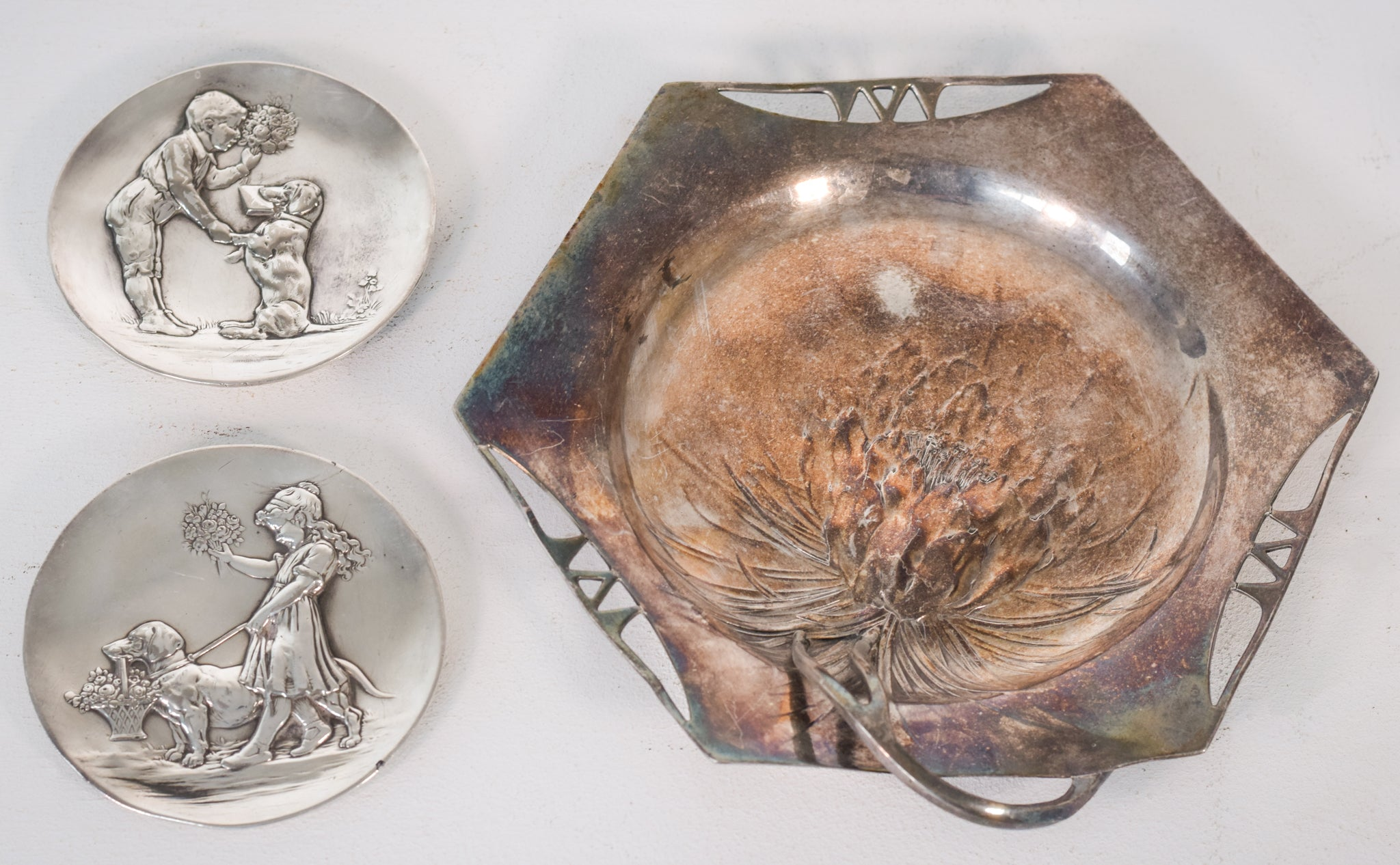 Two Art Nouveau Wmf Pewter Dishes and one other stamped orivit