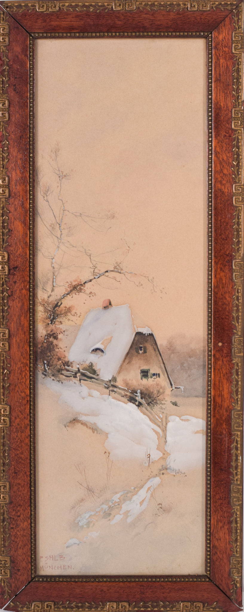 Snowscape Watercolour of a House mounted in a exquisite secessionist art Nouveau frame