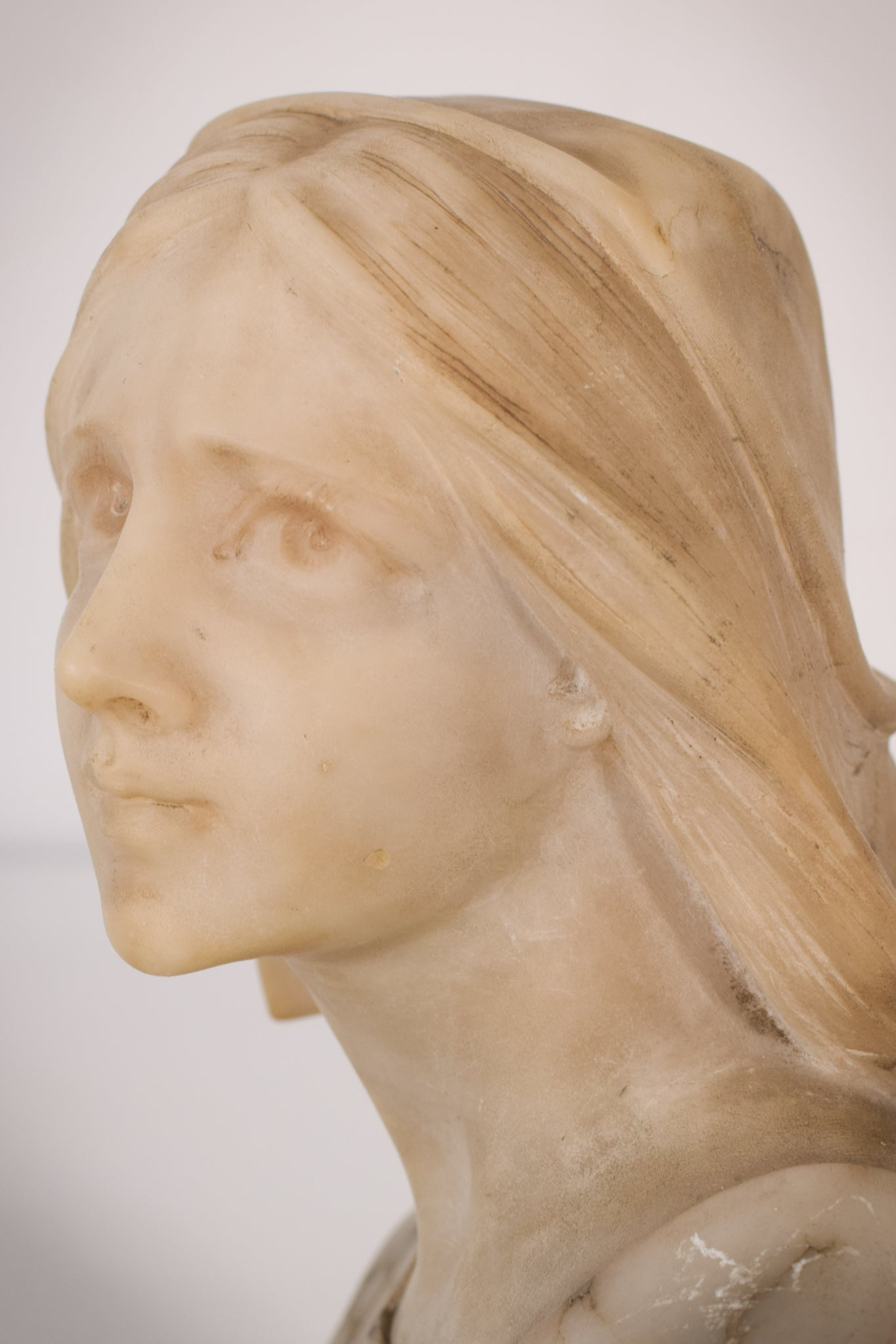 Signed Marble Bust of a Lady