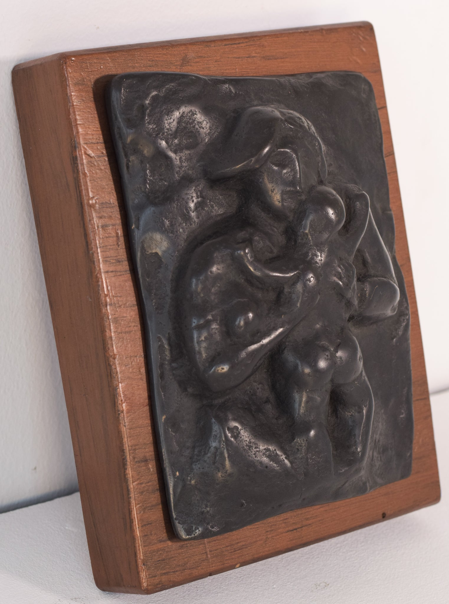 Bronze Plaque of Mother and Child. Signed Manolo. (Manuel Martinez Hugué)