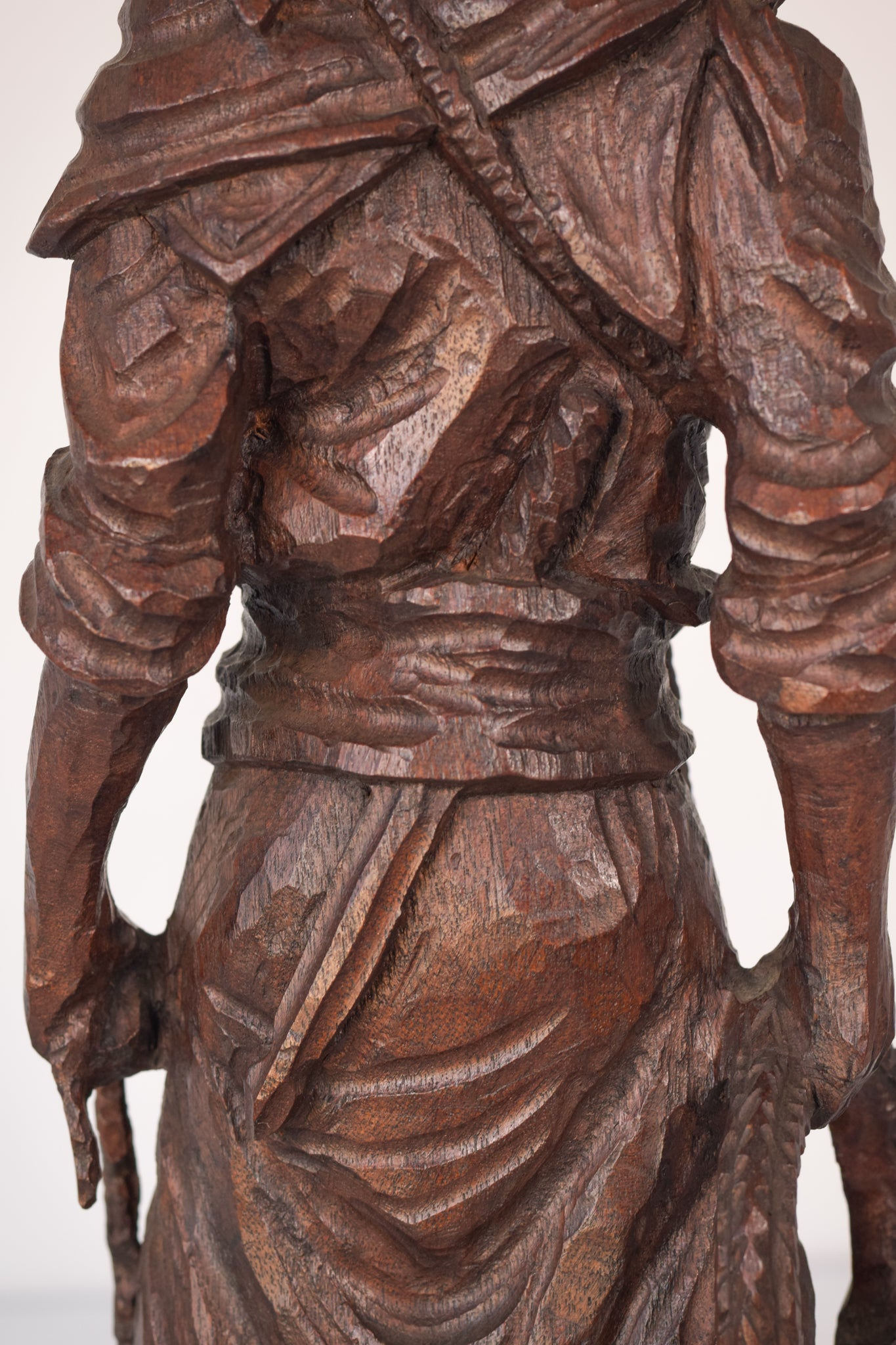 Large High Quality Hand Carved Signed Wooden Sculpture of a Male Figure