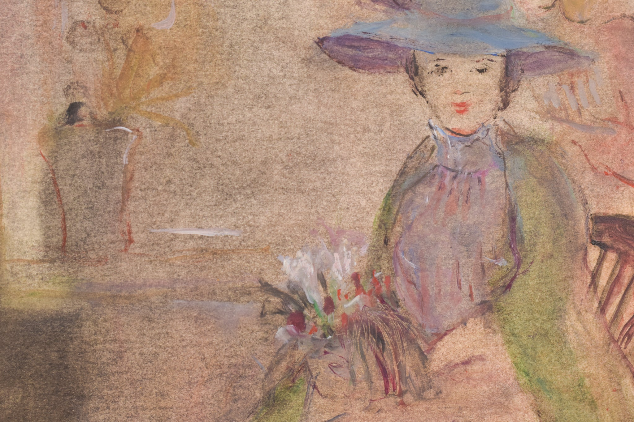 Watercolour of Ladies with hats and a Dog by Rosario de Velasco