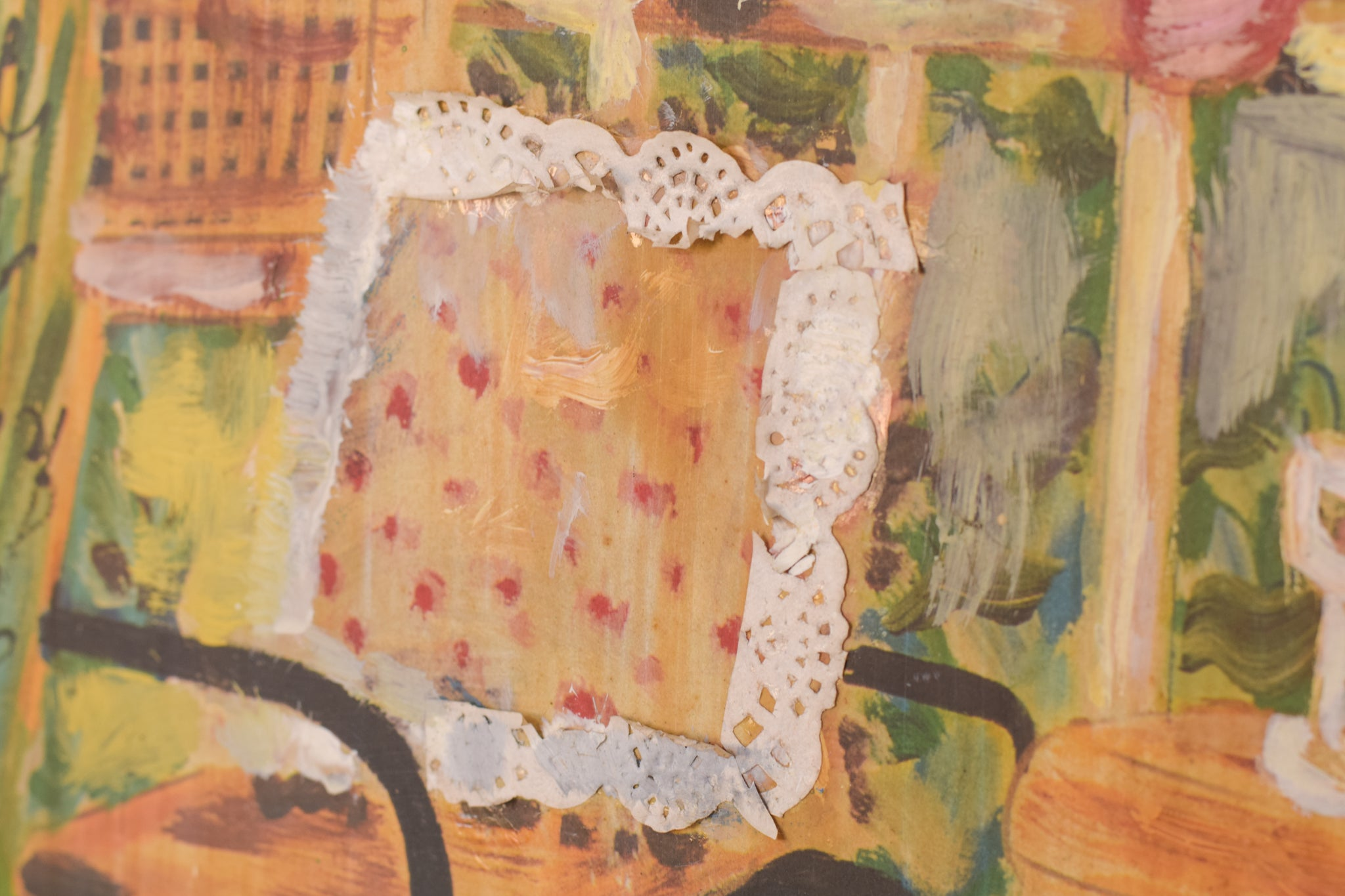Collage Oil and Mix Media Garden Scene