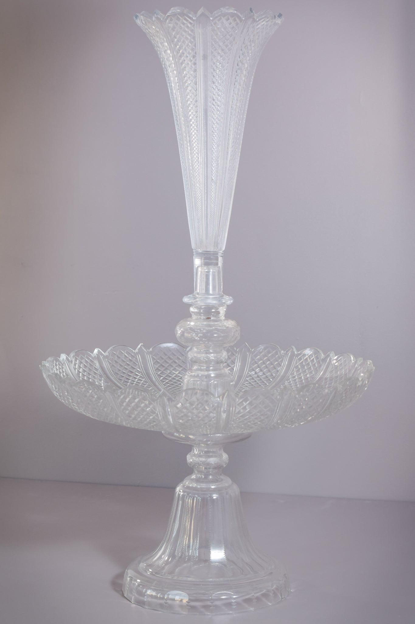Magnificent Hand Blown Cut Glass 19th Century Tazza