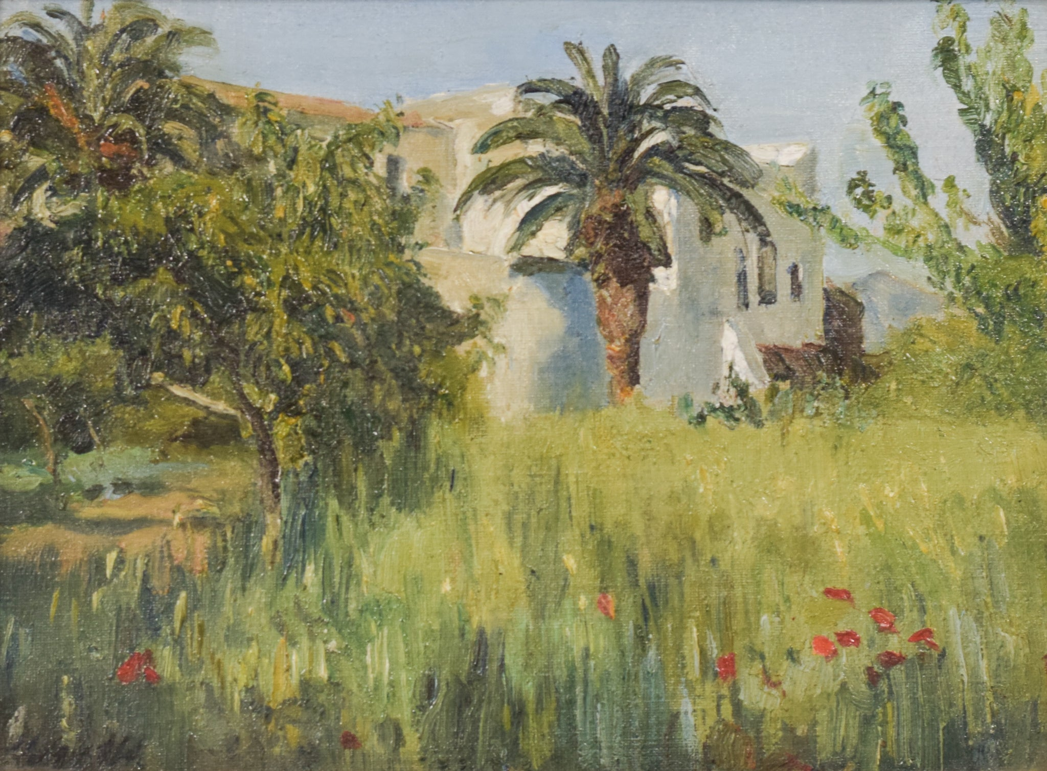 Impressionist Oil of Villa and Palm Trees