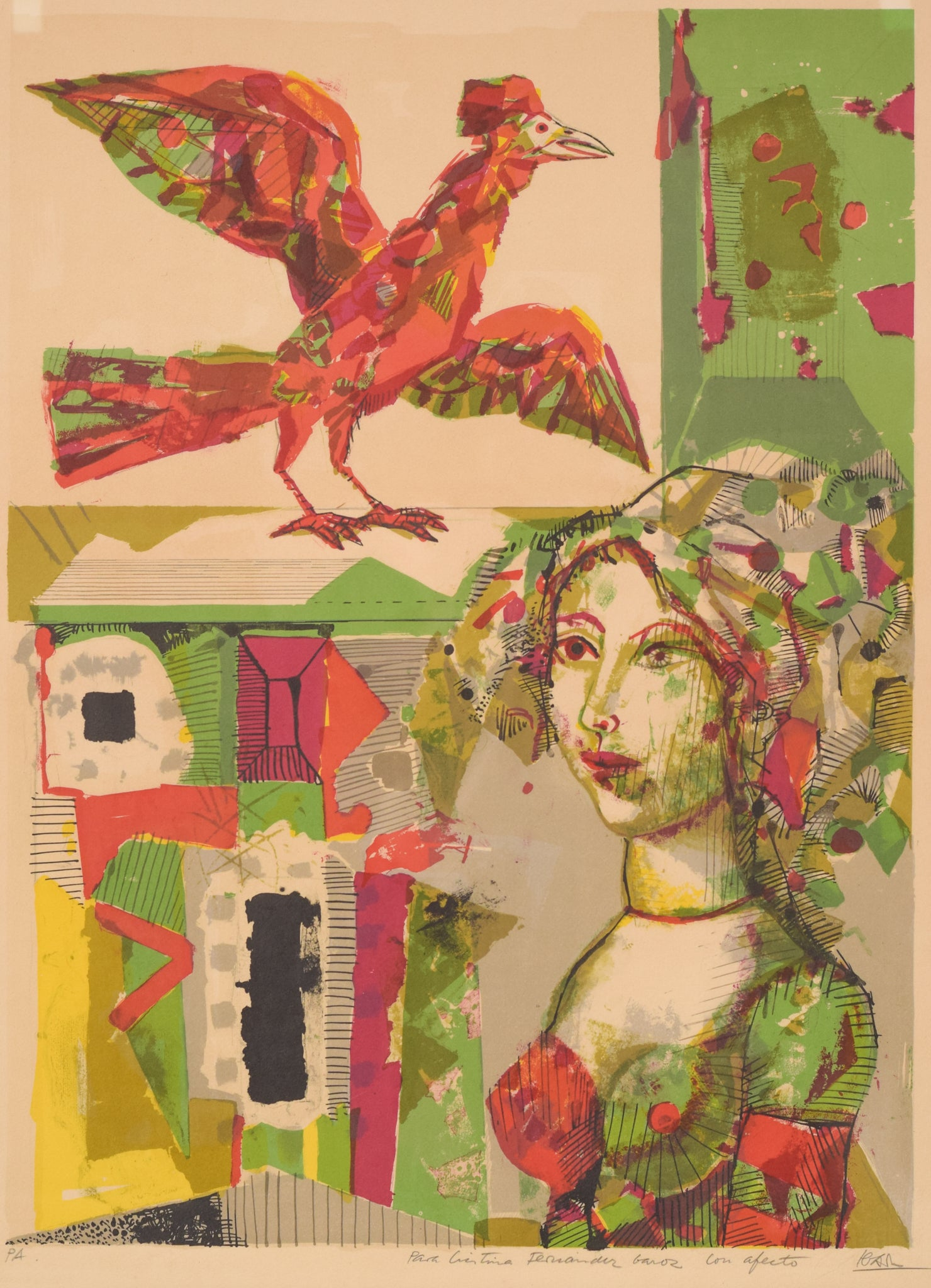 Silkscreen Bird & Lady
