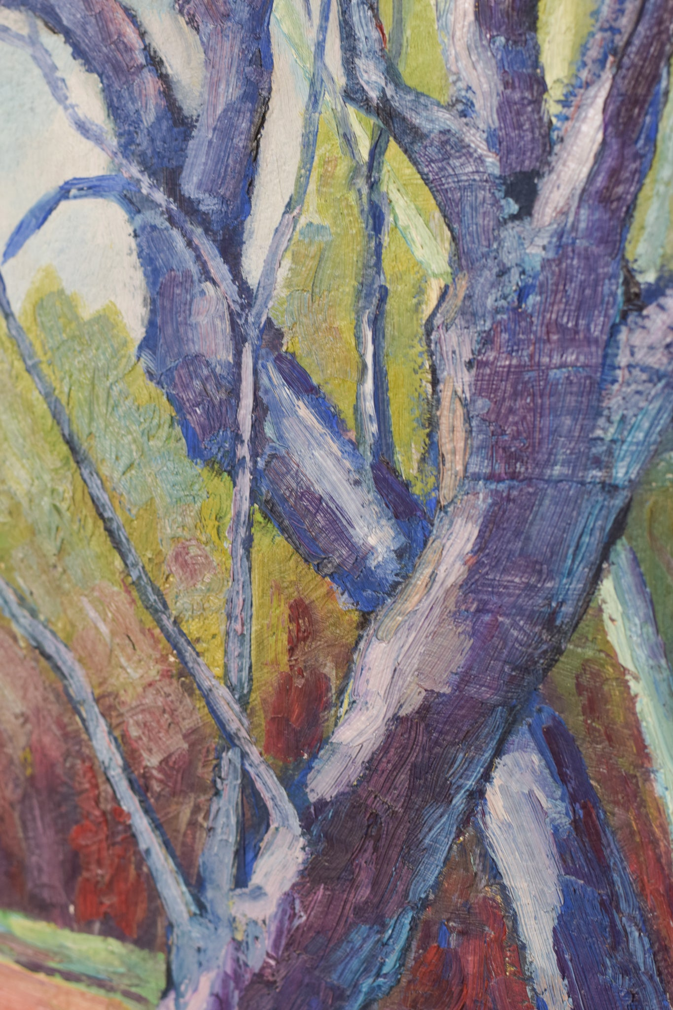 Follower of the Fauves Movement. Trees in a field. Oil on board (signed R. Luis)