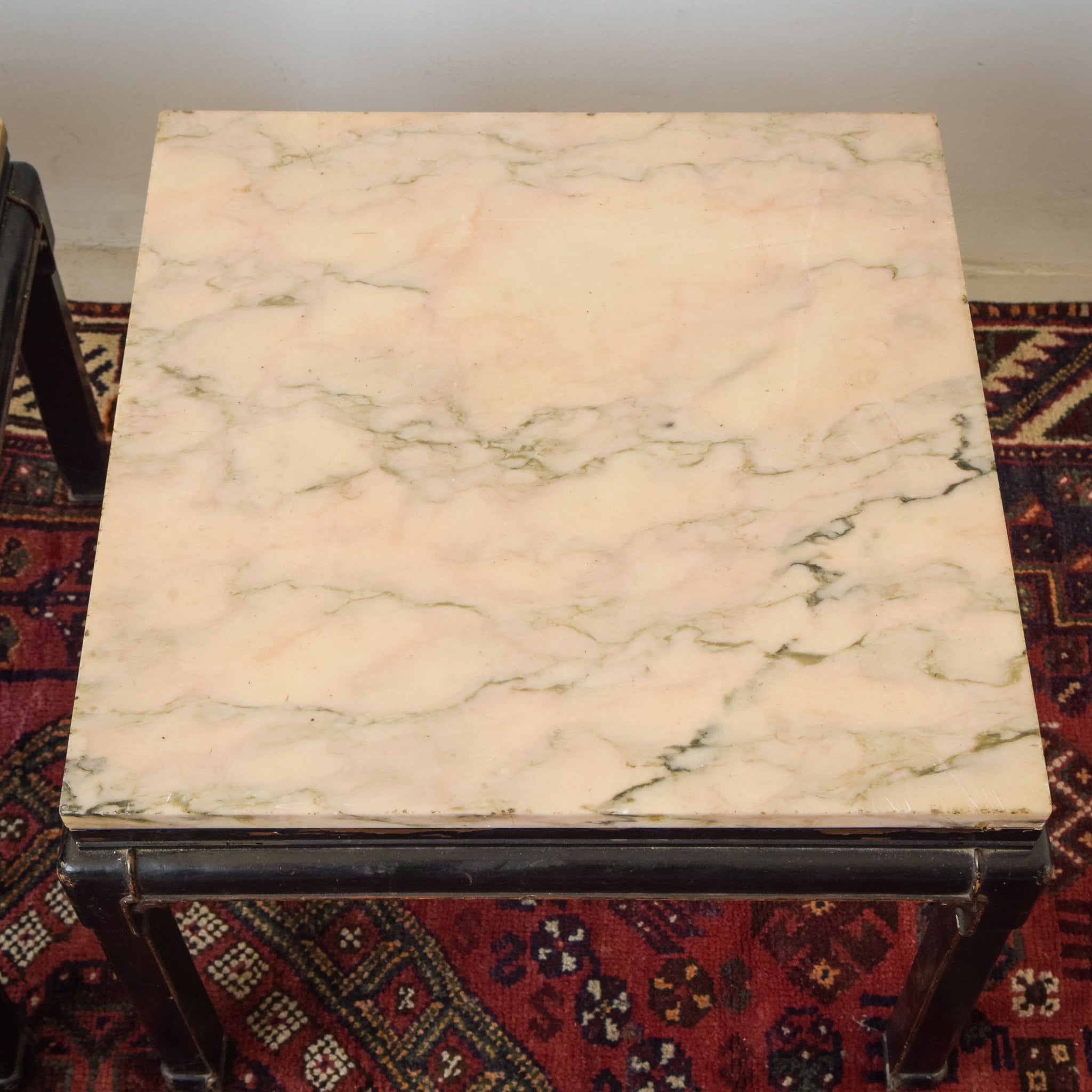 Pair of High Quality Chinese Style Lacquered 19th/20th century Marble Topped Tables