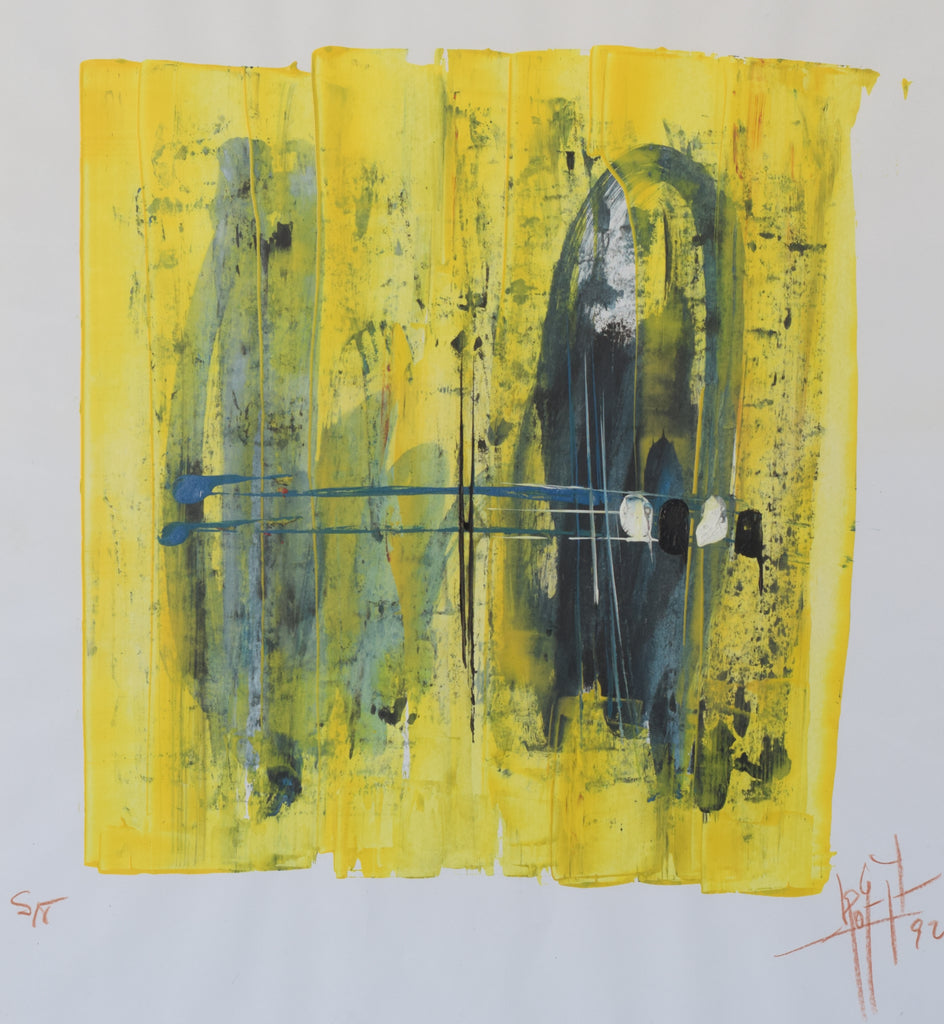 Taschist-style Abstract Painting in Yellow and Blue