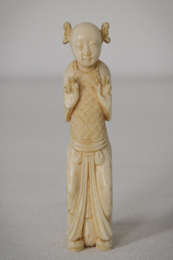 Chinese Carved Parasol Handle of a Lady
