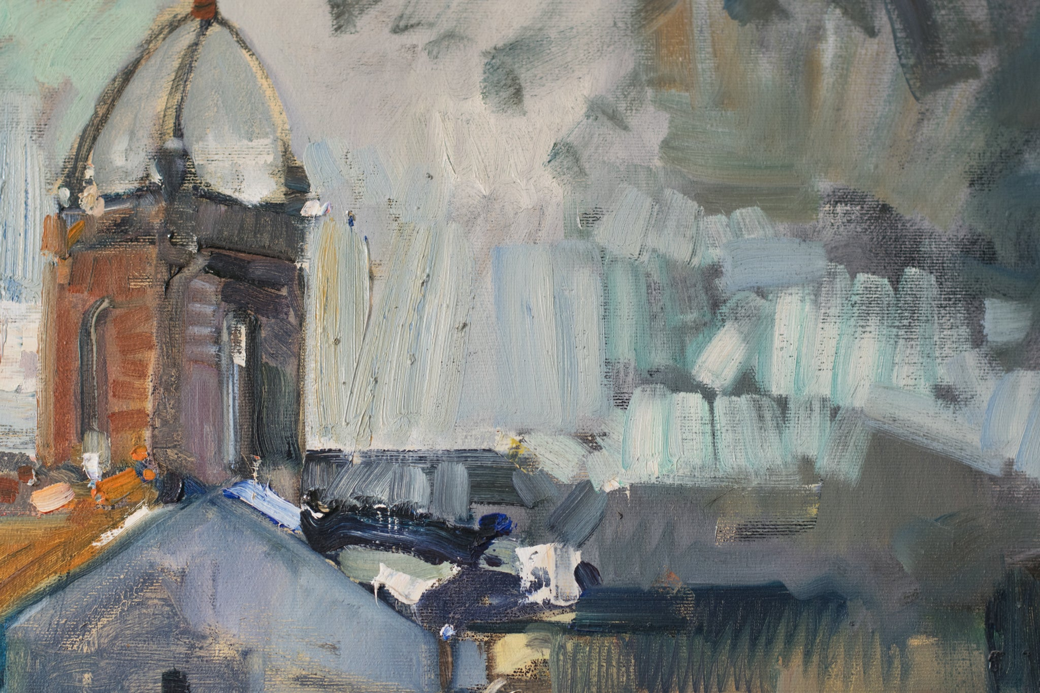 Expressionist Landscape with a View of a Church Tower_Detail