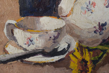 Load image into Gallery viewer, Still life with flowers, tea cup and jug_Detail