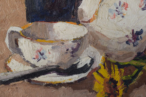 Still life with flowers, tea cup and jug_Detail