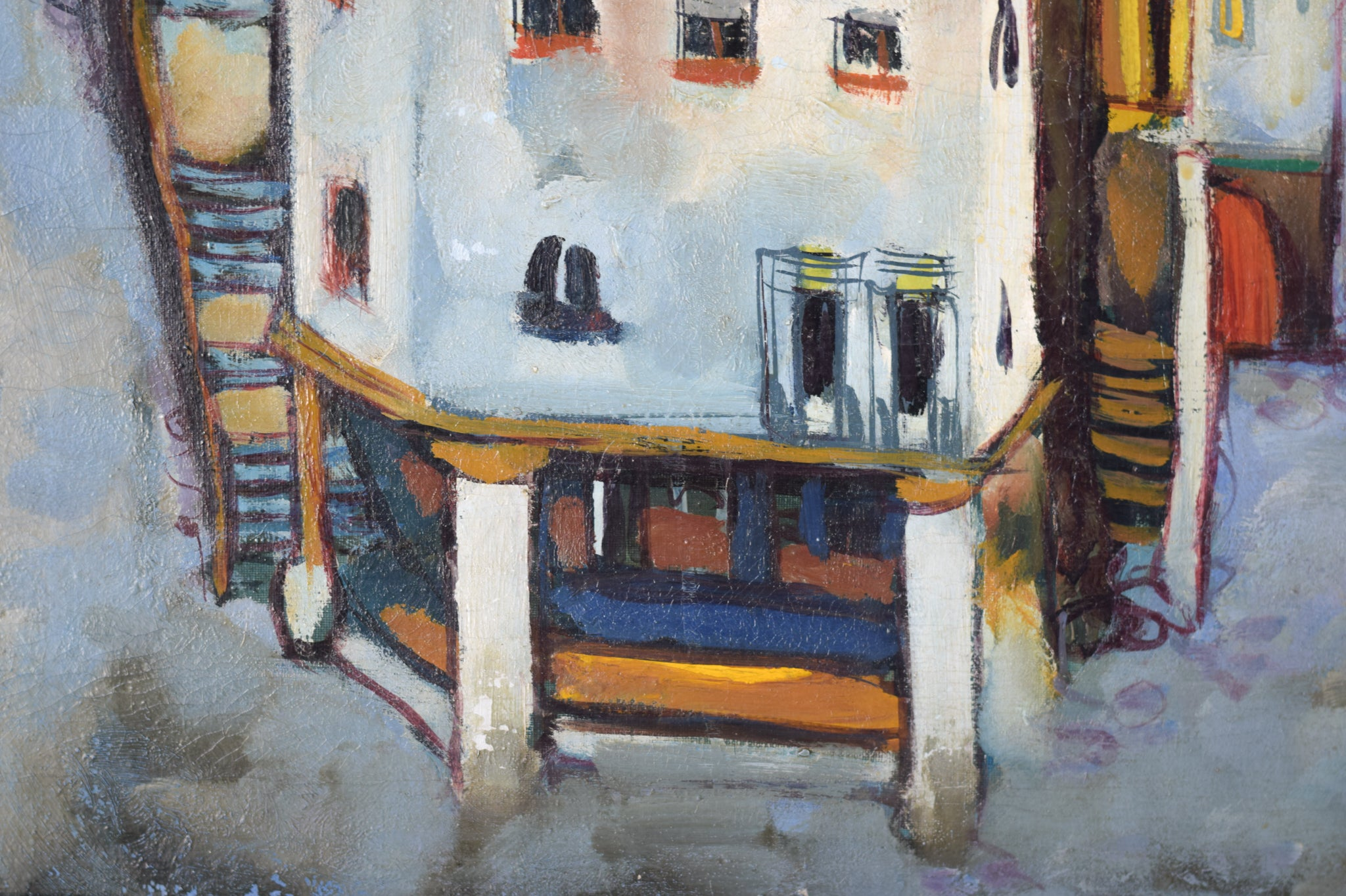 Post-Impressionist style painting of Red Roofs in Northern Spain_Detail 3